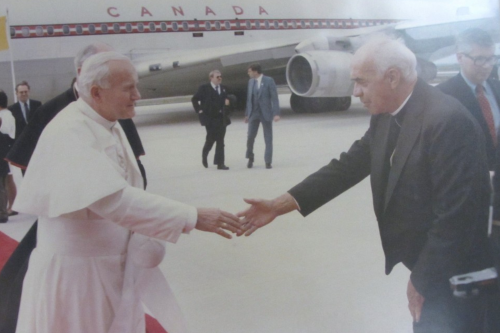 Msgr. Clement Schwalm greeting Pope John Paul II
